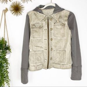 Free People Khaki Brown Hooded Full Zip Jacket